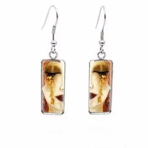 Golden Tears Gustav Klimt Drop Earrings